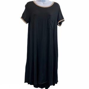 LuLaRoe Carly Solid Black w/Tan Trim Swing Dress